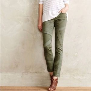 Anthro Pilcro and the Letterpress green moto jeans